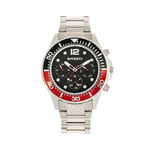 Breed Pegasus Mens Bracelet Watch - Red/Silver