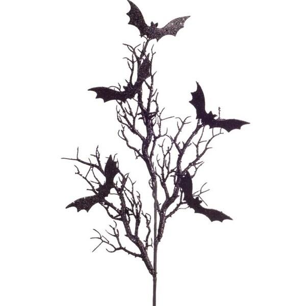 Pack of 12 Decorative Black Glitter Bat on Branch Sprays