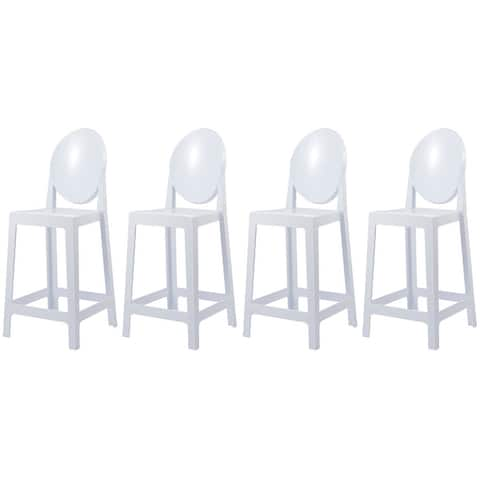 """Set of 4 25"""" Seat Bar Stool Counter Height With Backs Plastic High Chairs Dining Molded Kitchen Transparent"""