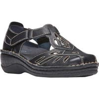 Propet Women's Jenna Closed Toe Sandal Black Full Grain Leather