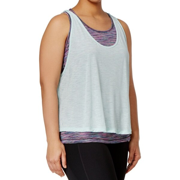 Ideology NEW Blue Mint Women's Size 3X Plus Active Overlay Tank Top