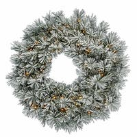 "30"" Pre-Lit Flocked White Pine Artificial Christmas Wreath - Clear Dura Lights"
