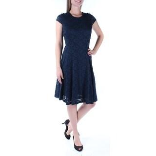 ALFANI $100 Womens 1393 Navy Jewel Neck Cap Sleeve Fit + Flare Dress 16 B+B