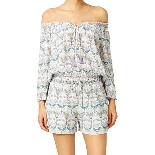 Tory Burch NEW White Women's Small S Off-Shoulder Mosaic Romper Silk