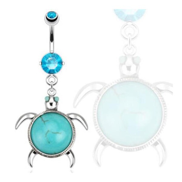 Sea Turtle with Turquoise Semi Precious Stone Shell Navel Belly Button Ring 316L