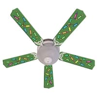 Green Crayon Custom Designer 52in Ceiling Fan Blades Set - Multi