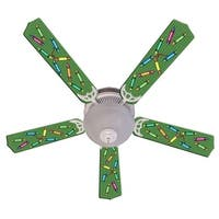 Green Crayon Print Blades 52in Ceiling Fan Light Kit - Multi