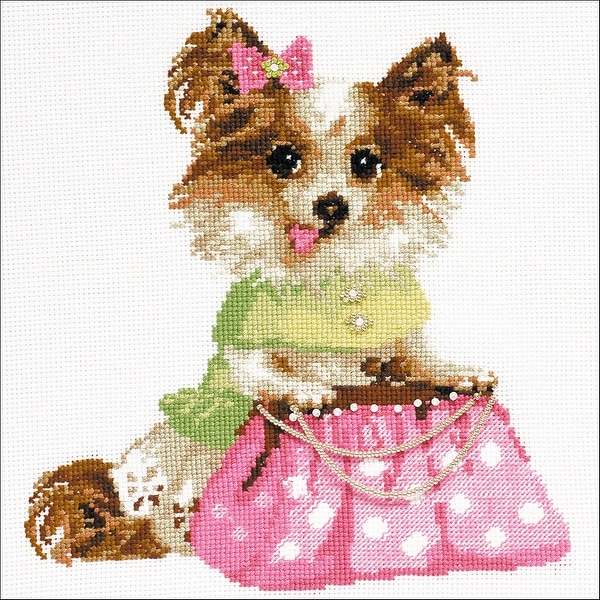 "Chihuahua Counted Cross Stitch Kit-9.75""X9.75"" 14 Count"