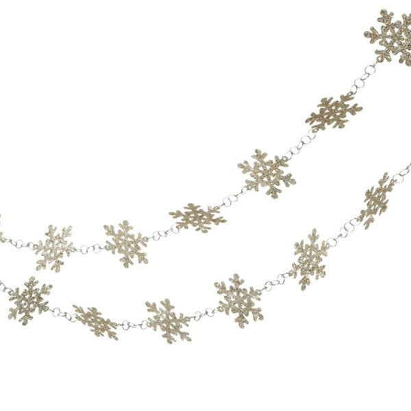 "72"" Glittered Platinum Snowflake Novelty Christmas Garlands - Unlit - GOLD"