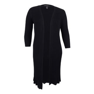 Style & Co. Women's Plus Size Rib-Knit Duster Cardigan - Deep Black