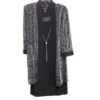 R & M Richards Women's 2 Piece Jersey Dress with Metallic Jack, Black, 14