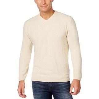 Weatherproof Mens Pullover Sweater Diamond Pattern V Neck