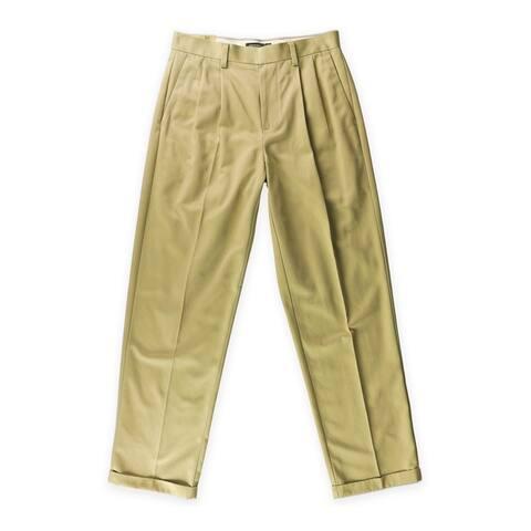 Dockers Mens Never-Iron Essential Dress Pants Slacks, Brown, 30W x 32L - 30W x 32L