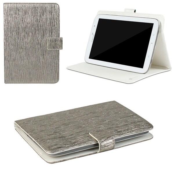 "JAVOedge Metallic Wave Universal 7-8"" Book Case for the iPad Mini, Samsung Tab, Nexus 7, Nook HD (Silver)"