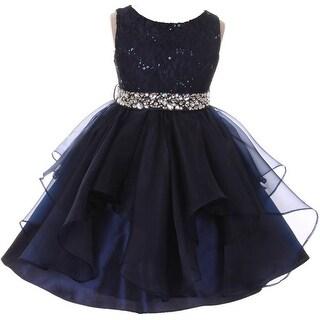 Flower Girl Dress Sequin Lace Top Ruffle Skirt Navy MBK 357