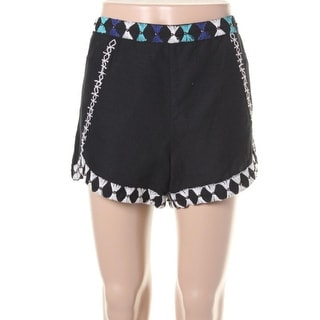 Free People Womens Linen Blend Embroidered Casual Shorts - 10