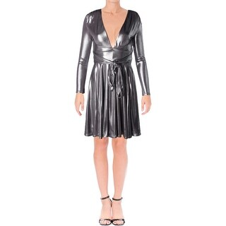 Halston Heritage Womens Cocktail Dress Metallic Fit & Flare