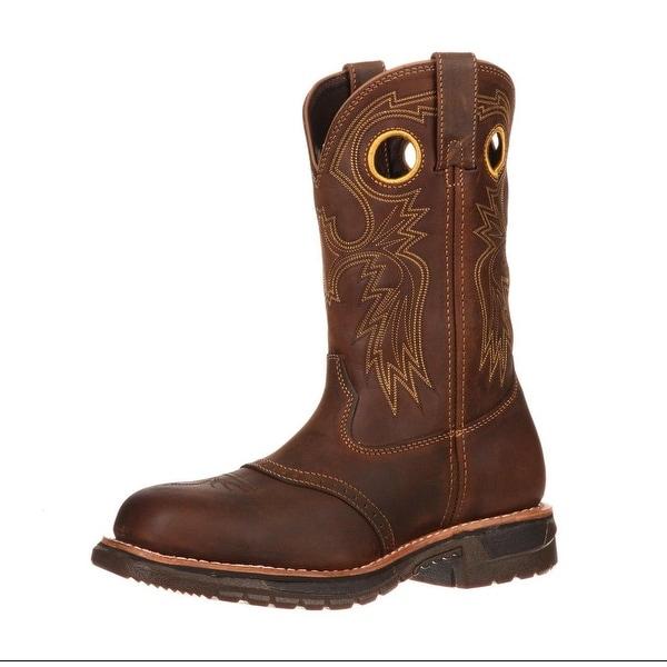 """Rocky Western Boot Men 11"""" Original Ride ST Work Trail Brown"""