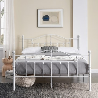 VECELO White Bed Frames Victorian Metal Platform Twin/Full/Queen Size