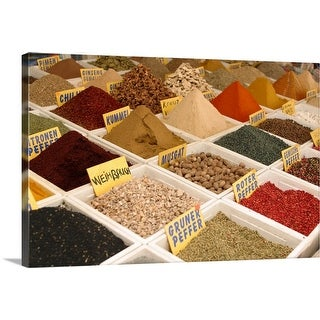 """Seasonings and spices in market"" Canvas Wall Art"