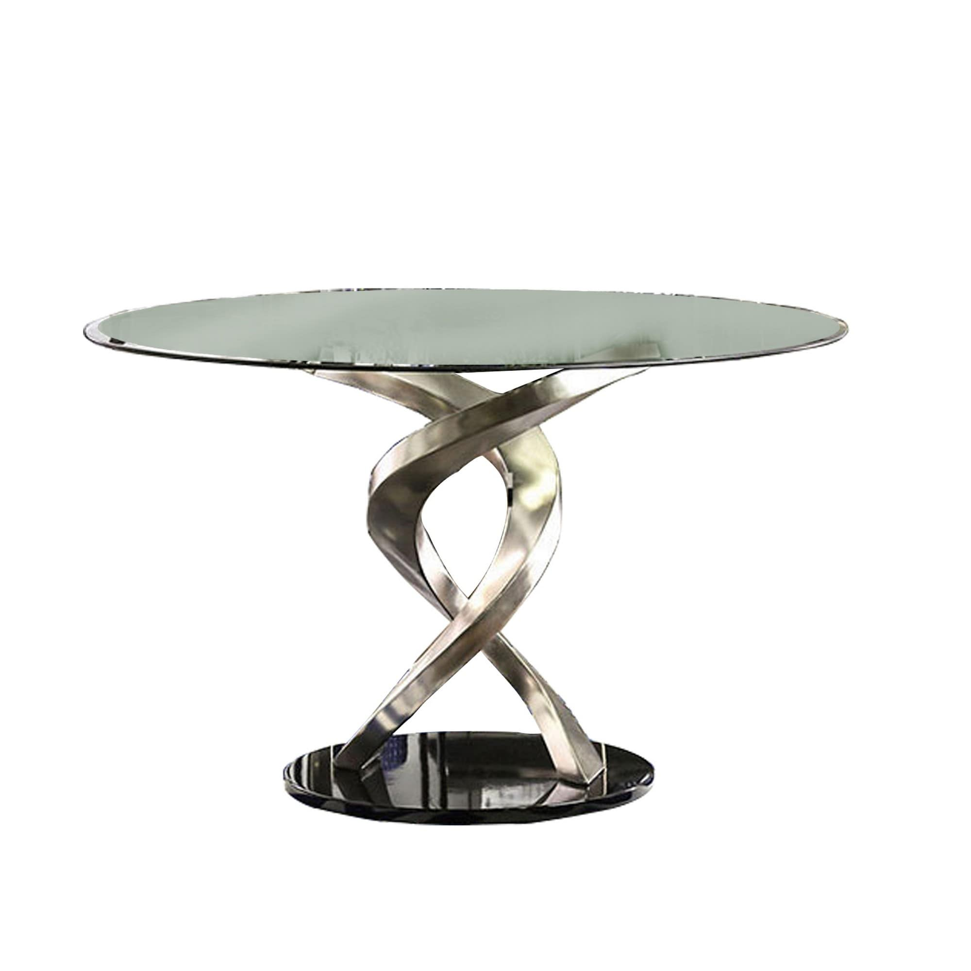 Contemporary Round Dining Table With Swirl Metal Base Black And Silver On Sale Overstock 31314705