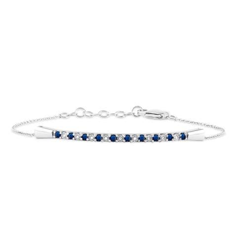 Blue Sapphire Gemstone 1/20ct Diamond Bracelet in 10k White Gold
