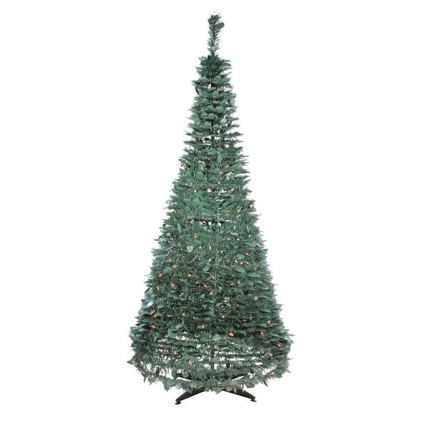 Pop Up Christmas Trees With Lights: Shop 6' Pre-Lit Slim Green Holly Leaf Pop-Up Artificial