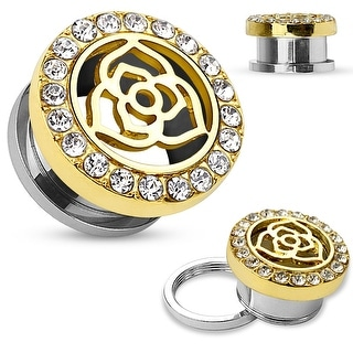 14Kt. Gold IP Crystal Pave Rim with Rose Center Top Surgical Steel Screw Fit Flesh Tunnel (Sold Ind)