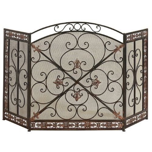 Aspire Home Accents 71822 Fleur De Lis Iron Fireplace Screen