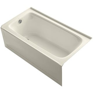 "Kohler K-1150-LA Bancroft Collection 60"" Three Wall Alcove Soaking Bath Tub with Left Hand Drain"