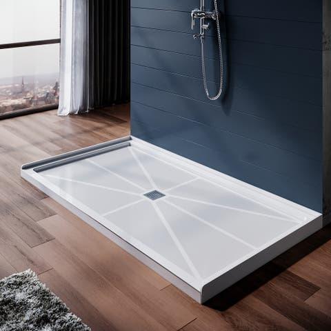 ELEGANT 32 in x 60 in. Single Threshold Shower Base Center Drain