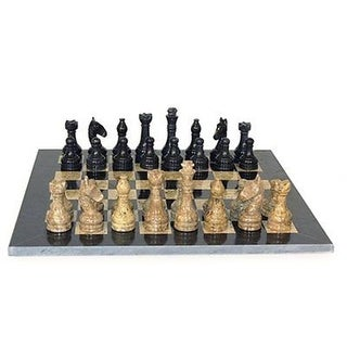16 in. Marble Chess Set with Frame 3.5 in. King Pakistan, Cora