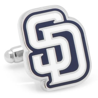 Rhodium Plated San Diego Padres Cufflinks MLB - Blue