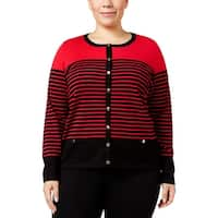 Karen Scott Womens Plus Cardigan Sweater Knit Striped
