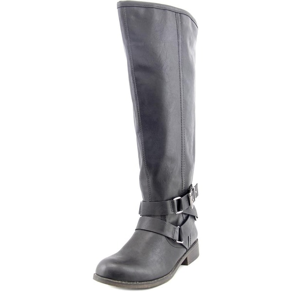Madden Girl Corprl Wide Calf Women Round Toe Synthetic Black Knee High Boot