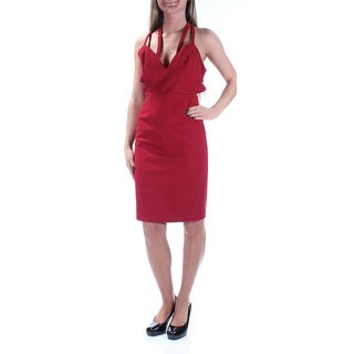 FAME AND PARTNERS $229 Womens New 1437 Red Cut Out Sheath Dress 0 B+B