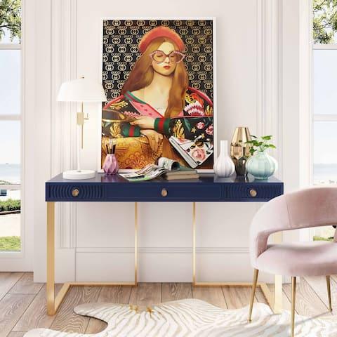 Silver Orchid Beknazarian Blue Lacquer Desk