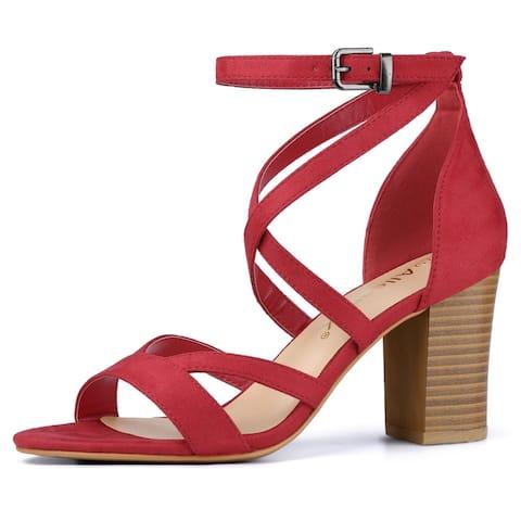 Women's Crisscross Ankle Strap Chunky Heel Sandals Red US 8