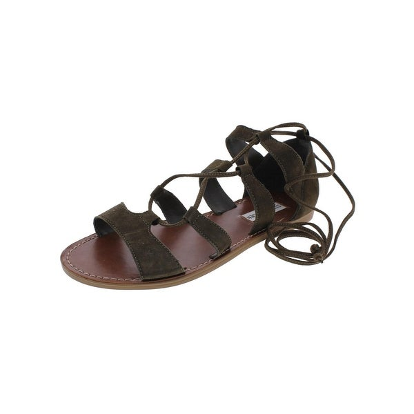 Steve Madden Womens Sanndee Flat Sandals Open Toe Ghillie