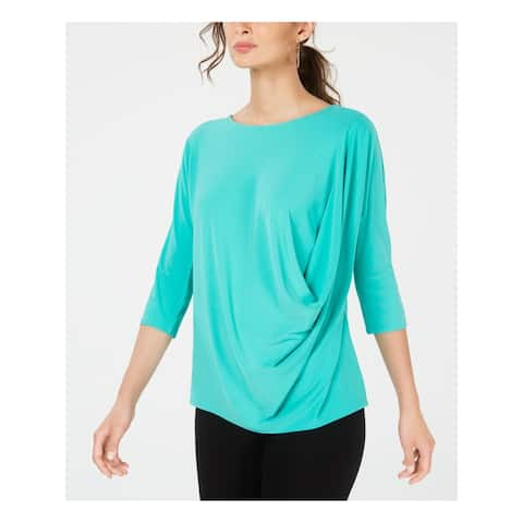 ALFANI Womens Green 3/4 Sleeve Jewel Neck Top Size L