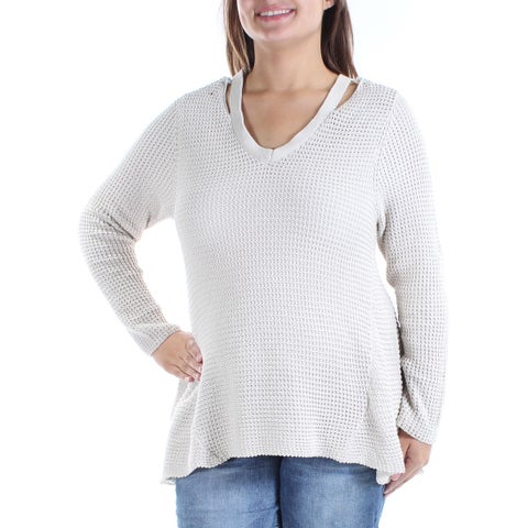 Womens Beige Long Sleeve V Neck Casual Hi-Lo Sweater Size XL