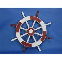 Red and White Ship Wheel With Seashell 18 in. Decorative Accent