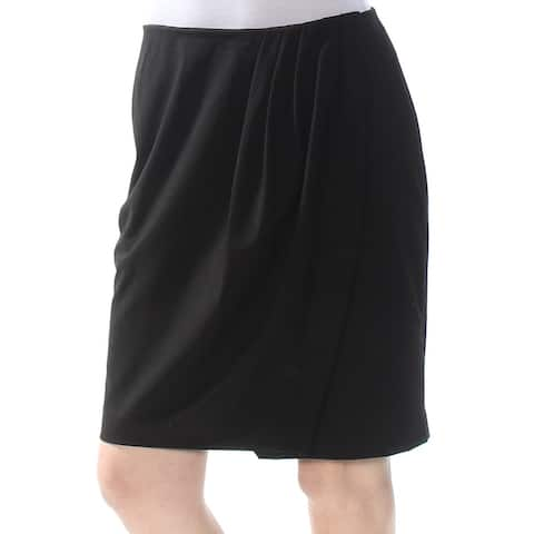 DKNY Womens Black Pleated Above The Knee Wrap Party Skirt Size 0