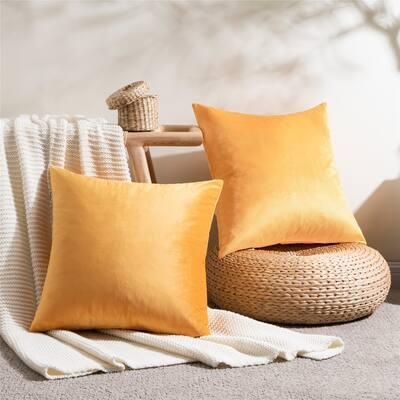 Topfinel Solid Square Velvet throw pillow cover (set of 2)