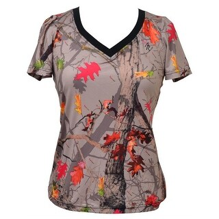 Angel Ranch HotLeaf Western Shirt Womens S/S Camo Gray Pink HL2051