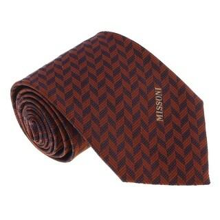 Missoni U5033 Orange/Black Herringbone 100% Silk Tie - 60-3