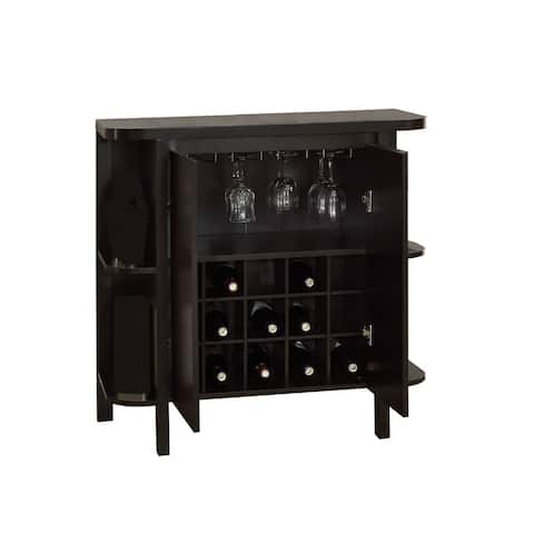 """36"""" Brown Contemporary Glass Storage Home Bar Table"""