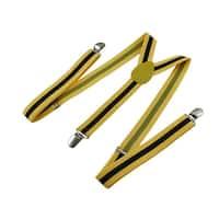 Bright Yellow / Black Striped Adjustable Suspenders