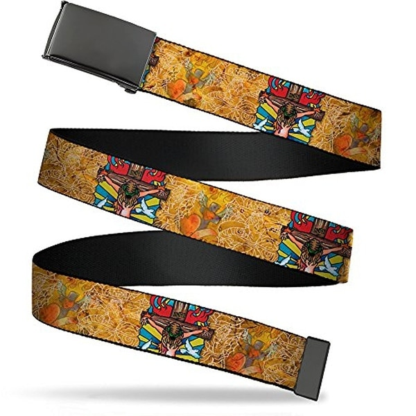 "Buckle-Down Web Belt Tattoo Johnny Religious 1.5"""