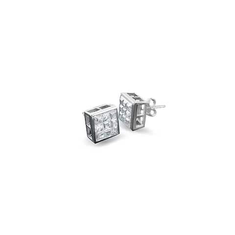 AAA CZ Checkboard Cubic Zirconia Bezel Set Invisible Cut Stud Earrings